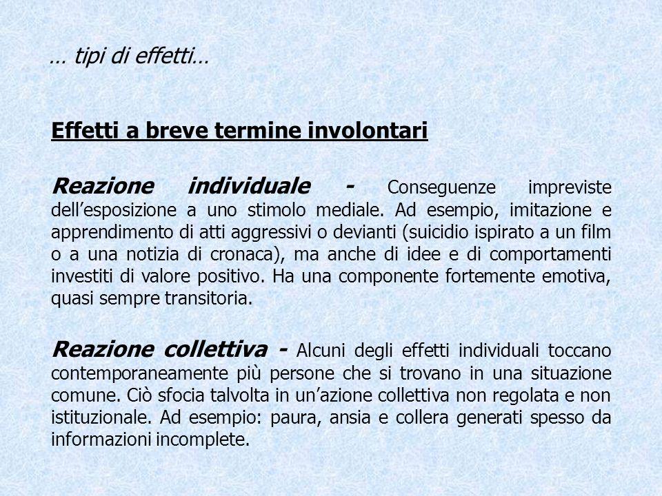 Effetti a breve termine involontari … tipi di effetti… Reazione individuale - Conseguenze impreviste dellesposizione a uno stimolo mediale. Ad esempio
