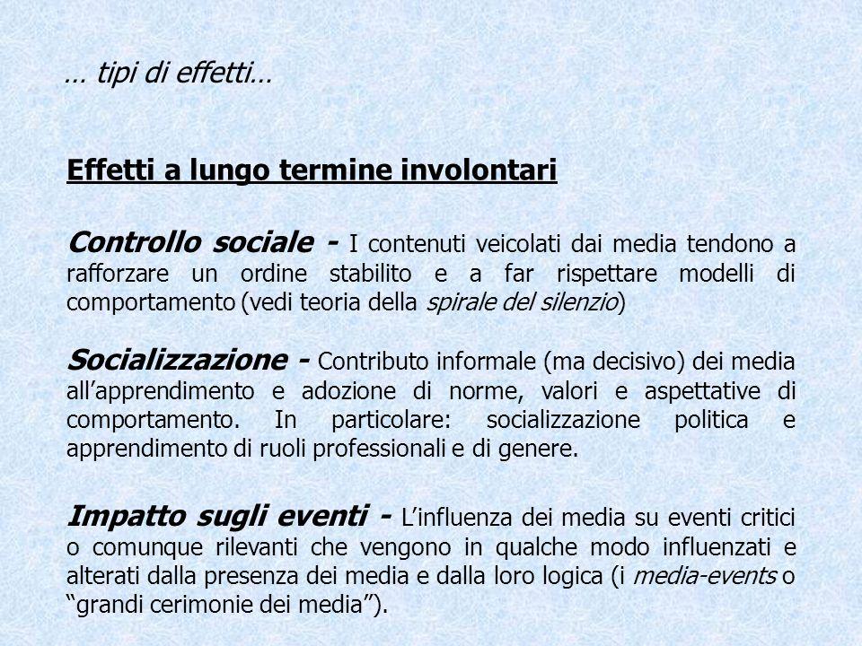 Effetti a lungo termine involontari … tipi di effetti… Controllo sociale - I contenuti veicolati dai media tendono a rafforzare un ordine stabilito e