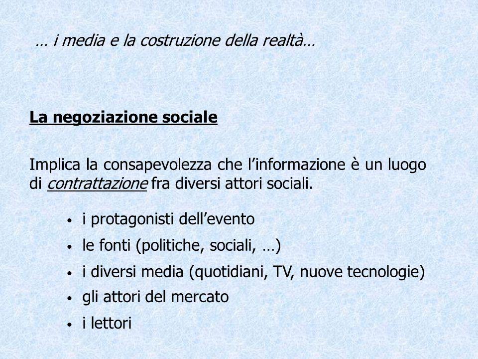 Teoria dellAgenda-Setting Il criterio di priorità dellinteresse individuale e collettivo non è determinato esclusivamente dalla rilevanza sociale dei fatti o notizie o dai reali interessi del pubblico, ma dallo spazio loro dedicato dai media.
