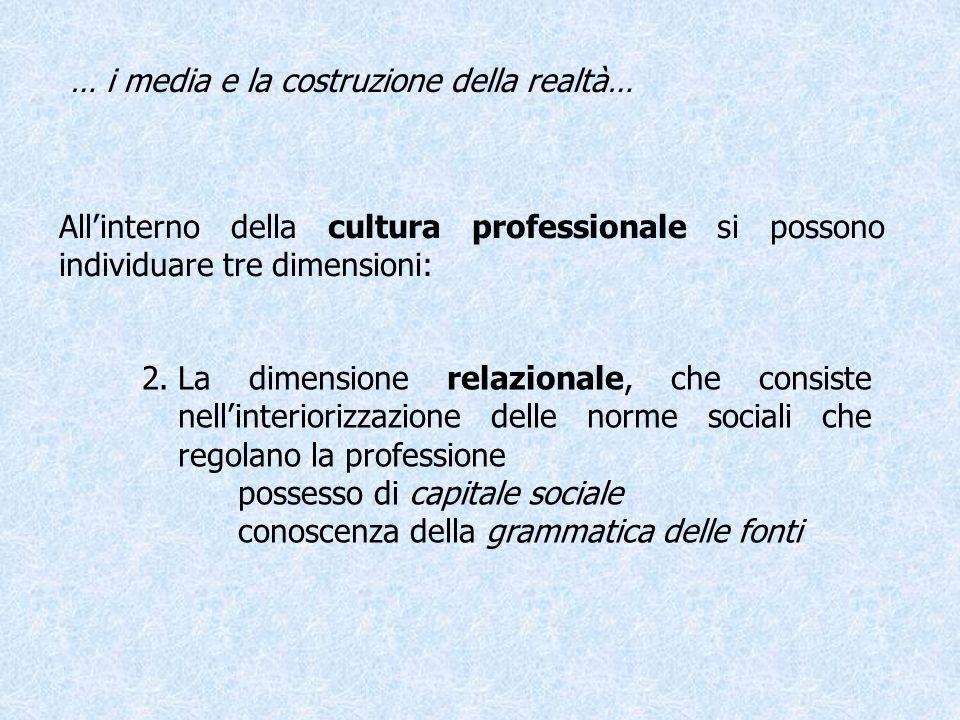 Allinterno della cultura professionale si possono individuare tre dimensioni: … i media e la costruzione della realtà… 3.La dimensione culturale, che implica la capacità di leggere la società, di saperle dare senso e di adattarsi ai continui cambiamenti socio-culturali