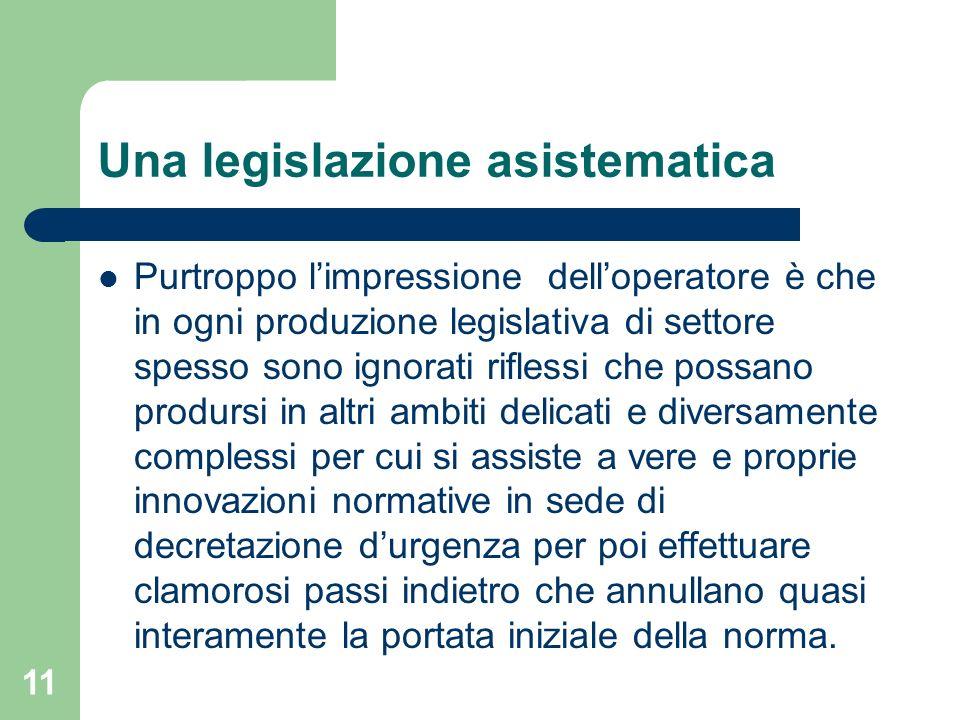Una legislazione asistematica Purtroppo limpressione delloperatore è che in ogni produzione legislativa di settore spesso sono ignorati riflessi che p