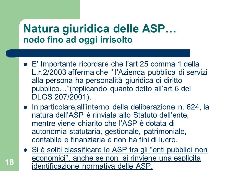18 Natura giuridica delle ASP… nodo fino ad oggi irrisolto E Importante ricordare che lart 25 comma 1 della L.r.2/2003 afferma che lAzienda pubblica d