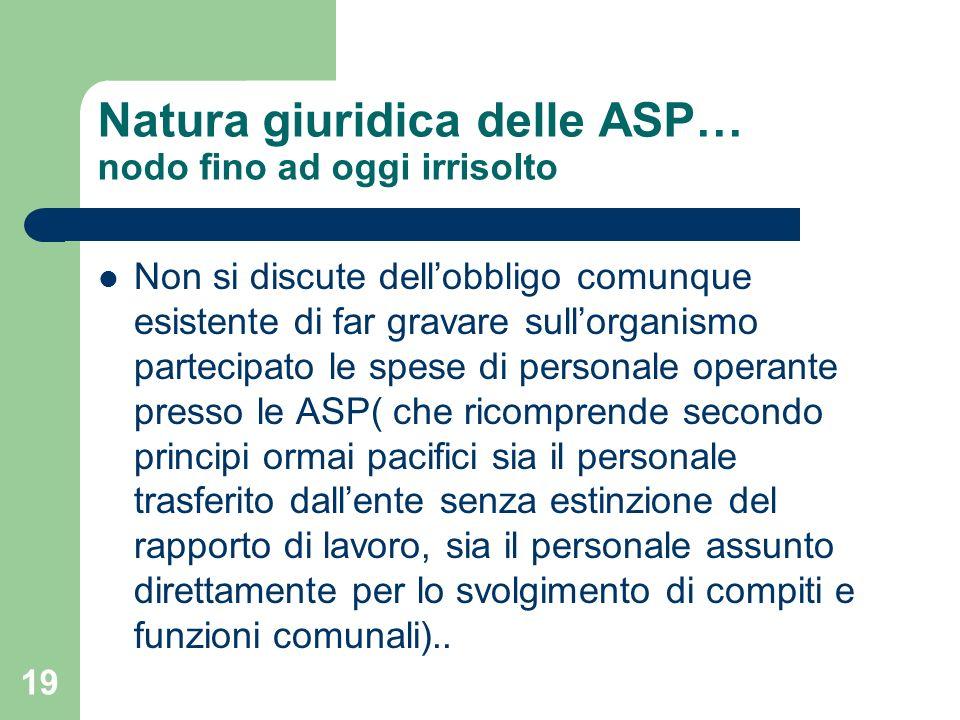 19 Natura giuridica delle ASP… nodo fino ad oggi irrisolto Non si discute dellobbligo comunque esistente di far gravare sullorganismo partecipato le s