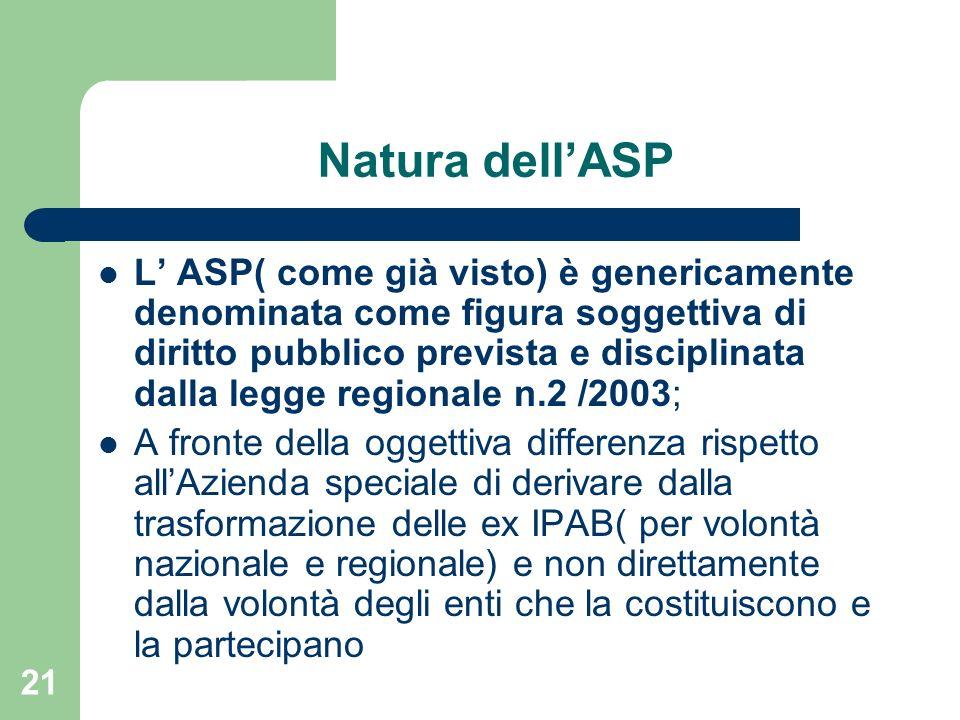 21 Natura dellASP L ASP( come già visto) è genericamente denominata come figura soggettiva di diritto pubblico prevista e disciplinata dalla legge reg