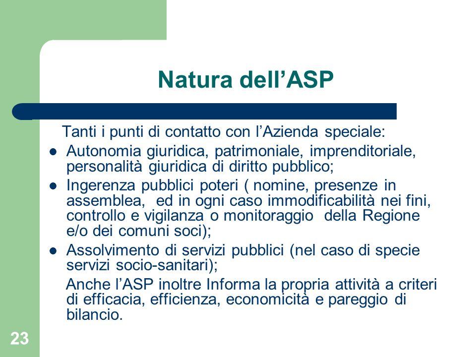 23 Natura dellASP Tanti i punti di contatto con lAzienda speciale: Autonomia giuridica, patrimoniale, imprenditoriale, personalità giuridica di diritt