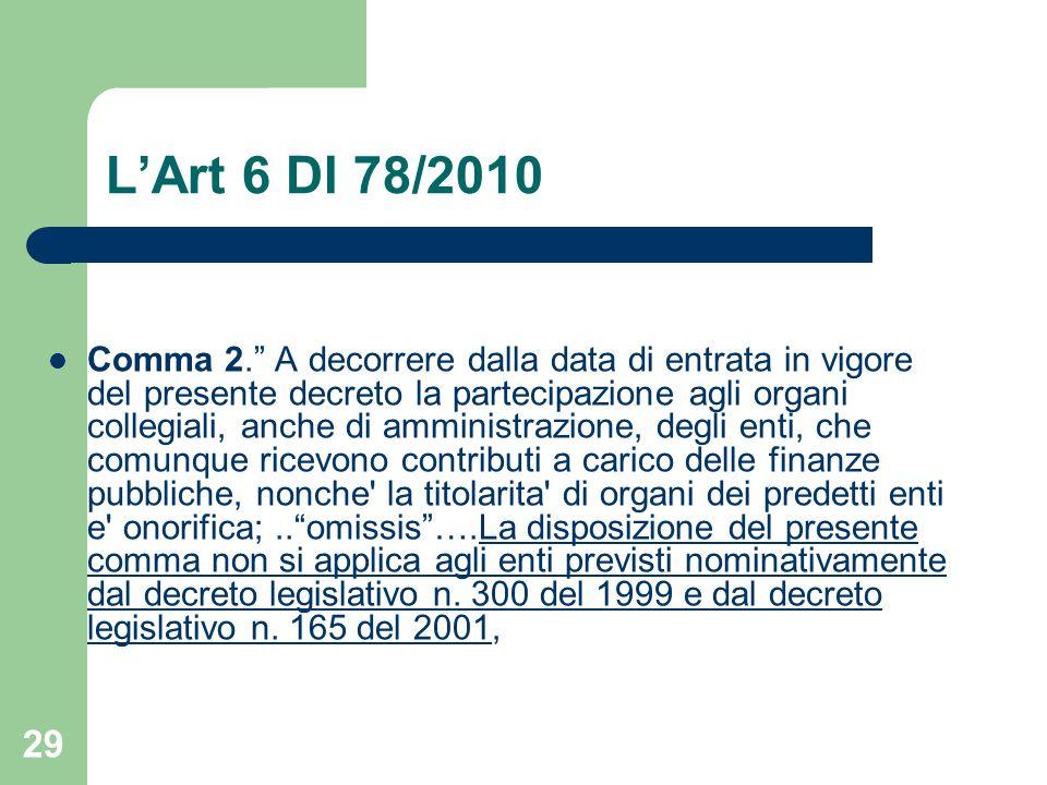 29 LArt 6 Dl 78/2010 Comma 2. A decorrere dalla data di entrata in vigore del presente decreto la partecipazione agli organi collegiali, anche di ammi