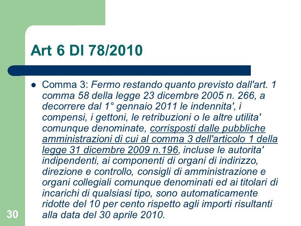 30 Art 6 Dl 78/2010 Comma 3: Fermo restando quanto previsto dall'art. 1 comma 58 della legge 23 dicembre 2005 n. 266, a decorrere dal 1° gennaio 2011