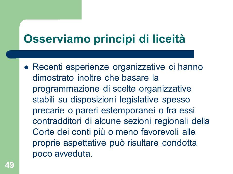 Osserviamo principi di liceità Recenti esperienze organizzative ci hanno dimostrato inoltre che basare la programmazione di scelte organizzative stabi
