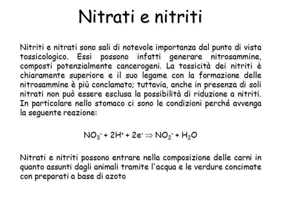 Nitriti e nitrati sono sali di notevole importanza dal punto di vista tossicologico.