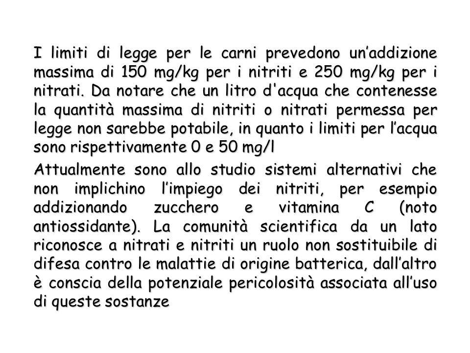I limiti di legge per le carni prevedono unaddizione massima di 150 mg/kg per i nitriti e 250 mg/kg per i nitrati.