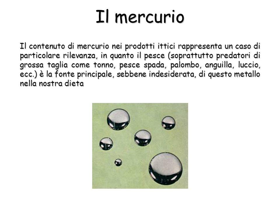 Il contenuto di mercurio nei prodotti ittici rappresenta un caso di particolare rilevanza, in quanto il pesce (soprattutto predatori di grossa taglia come tonno, pesce spada, palombo, anguilla, luccio, ecc.) è la fonte principale, sebbene indesiderata, di questo metallo nella nostra dieta Il mercurio