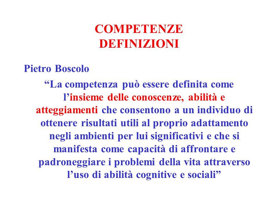 COMPETENZE DEFINIZIONI Pietro Boscolo La competenza può essere definita come linsieme delle conoscenze, abilità e atteggiamenti che consentono a un in