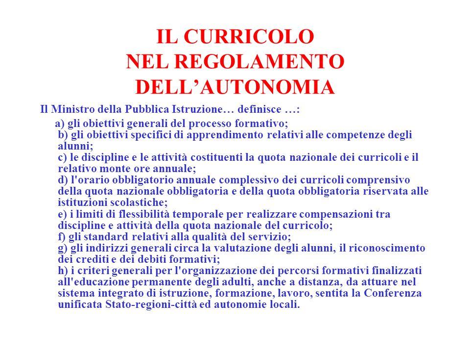 IL CURRICOLO NEL REGOLAMENTO DELLAUTONOMIA Il Ministro della Pubblica Istruzione… definisce …: a) gli obiettivi generali del processo formativo; b) gl