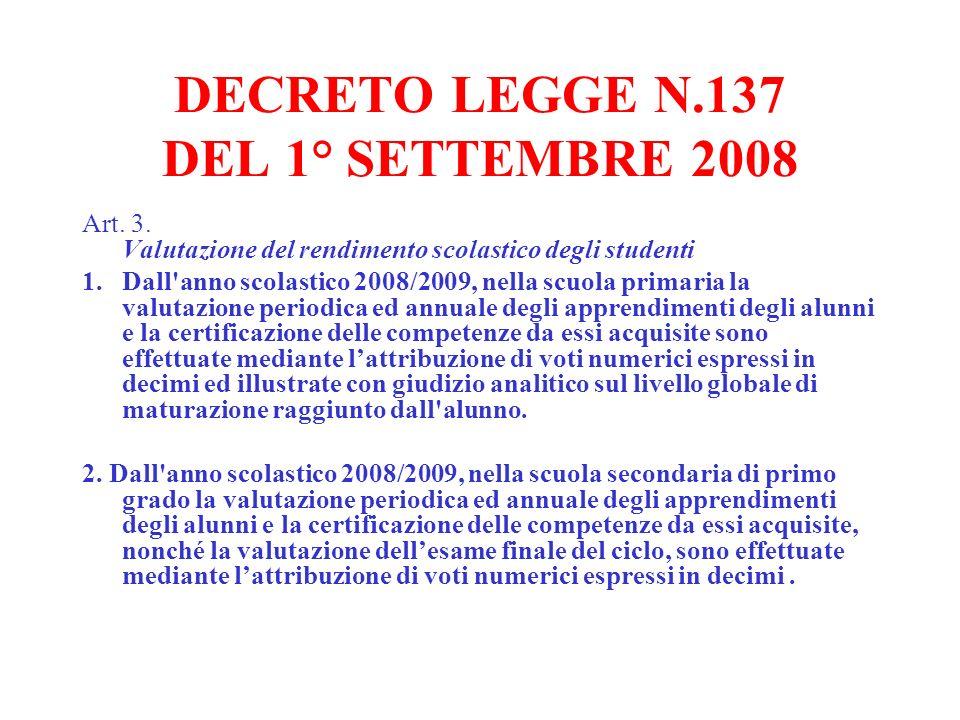DECRETO LEGGE N.137 DEL 1° SETTEMBRE 2008 Art. 3. Valutazione del rendimento scolastico degli studenti 1.Dall'anno scolastico 2008/2009, nella scuola