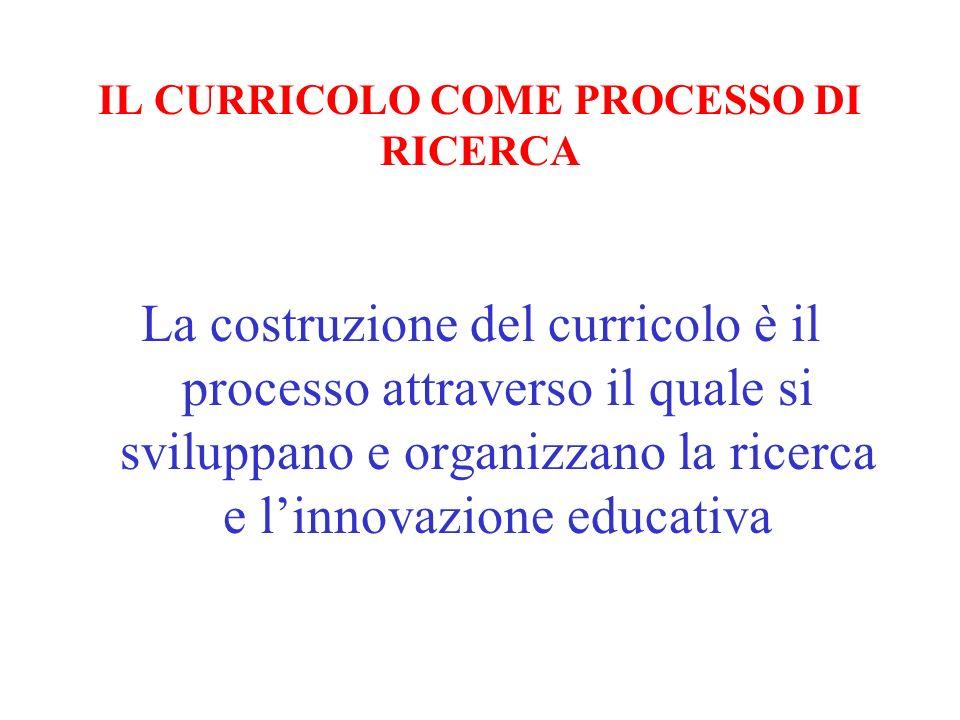 IL CURRICOLO COME PROCESSO DI RICERCA La costruzione del curricolo è il processo attraverso il quale si sviluppano e organizzano la ricerca e linnovaz