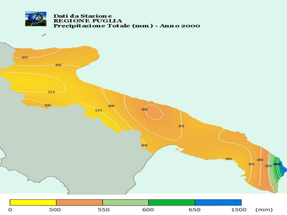 Indice di aridità della Puglia (De Martonne) PROVINCIA 1961 - 1990 1991 - 2000 2000 BARI 241914 BRINDISI 232013 LECCE 191710 FOGGIA 231915 TARANTO 151