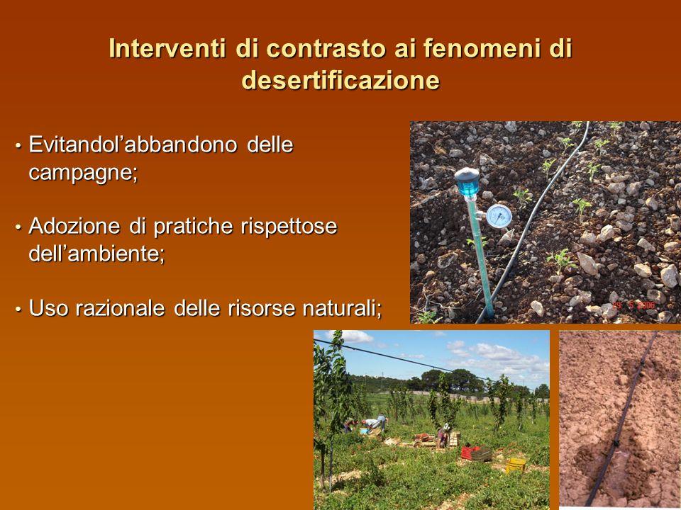 Effetti della desertificazione Salinizzazione e alcalinizzazione dei suoli; Salinizzazione e alcalinizzazione dei suoli; Diminuzione del tenore in sos
