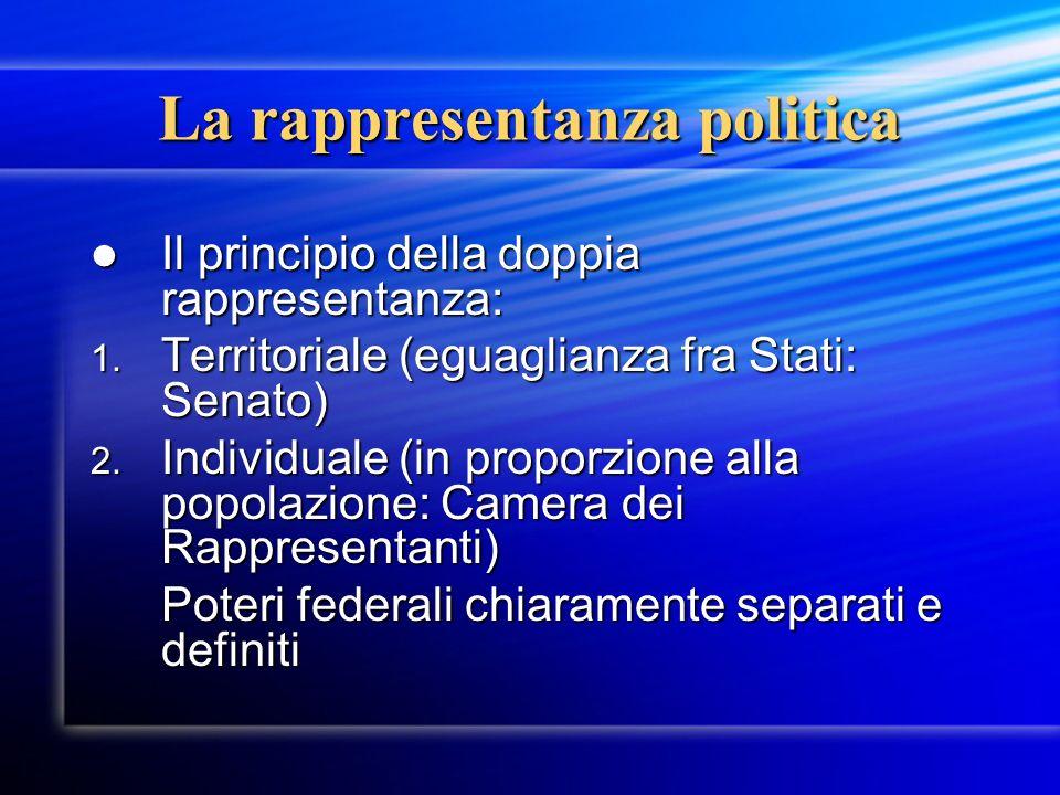 La rappresentanza politica Il principio della doppia rappresentanza: Il principio della doppia rappresentanza: 1.