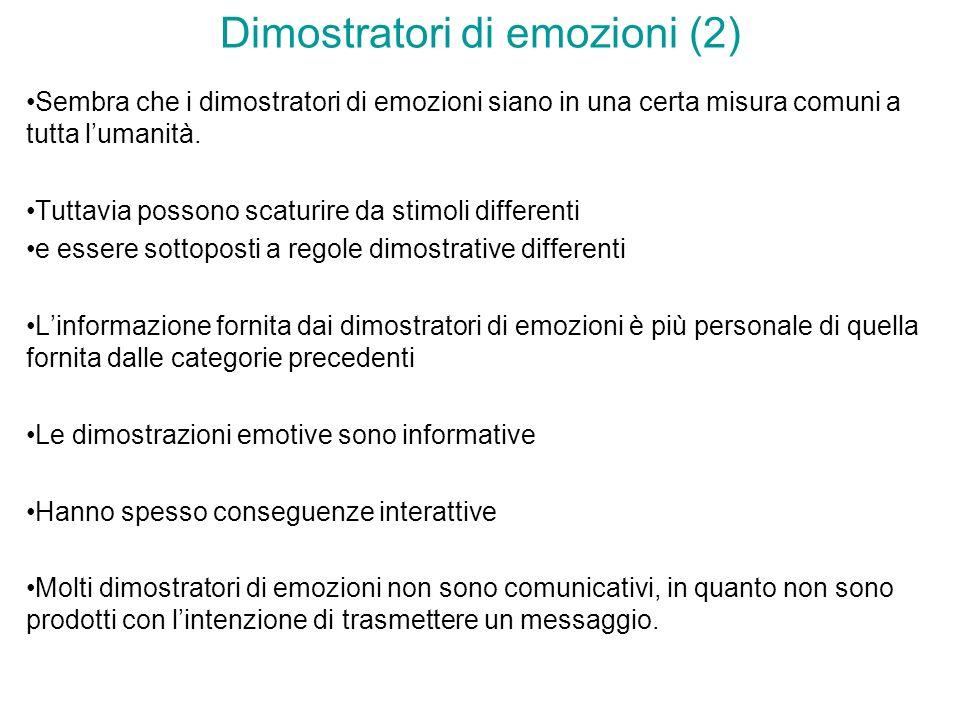 Dimostratori di emozioni (2) Sembra che i dimostratori di emozioni siano in una certa misura comuni a tutta lumanità. Tuttavia possono scaturire da st