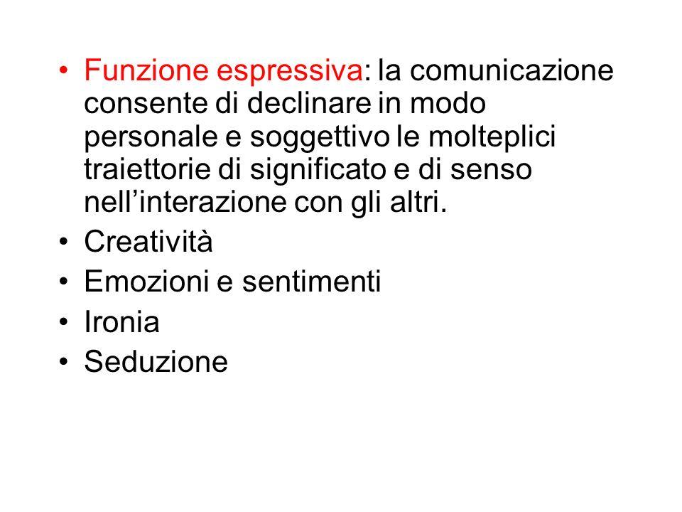 Funzione espressiva: la comunicazione consente di declinare in modo personale e soggettivo le molteplici traiettorie di significato e di senso nellint