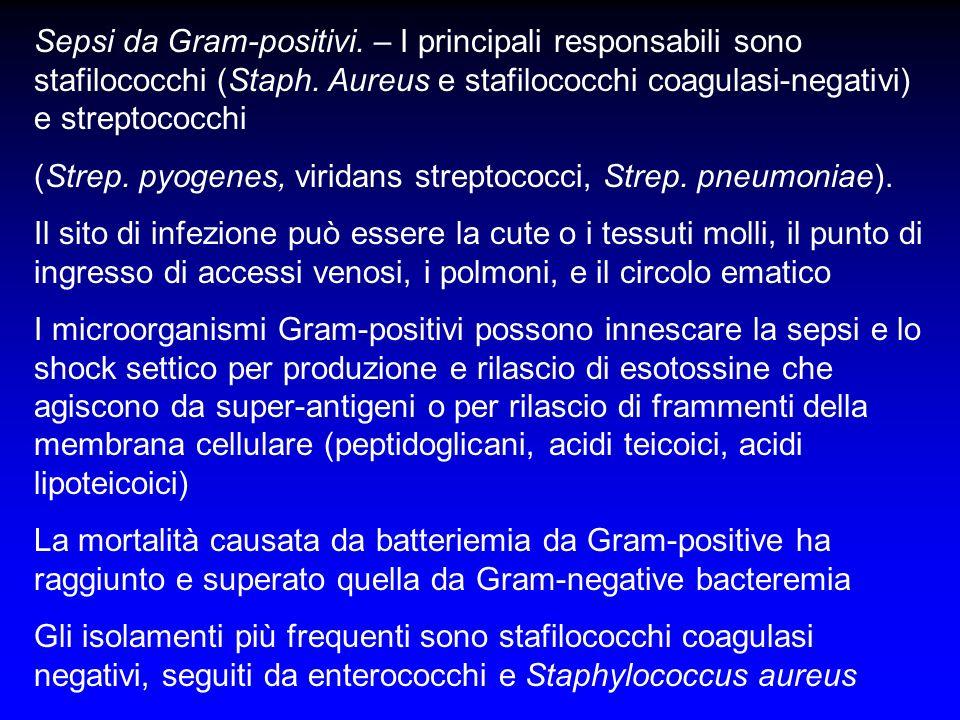 Sepsi da Gram-positivi. – I principali responsabili sono stafilococchi (Staph. Aureus e stafilococchi coagulasi-negativi) e streptococchi (Strep. pyog