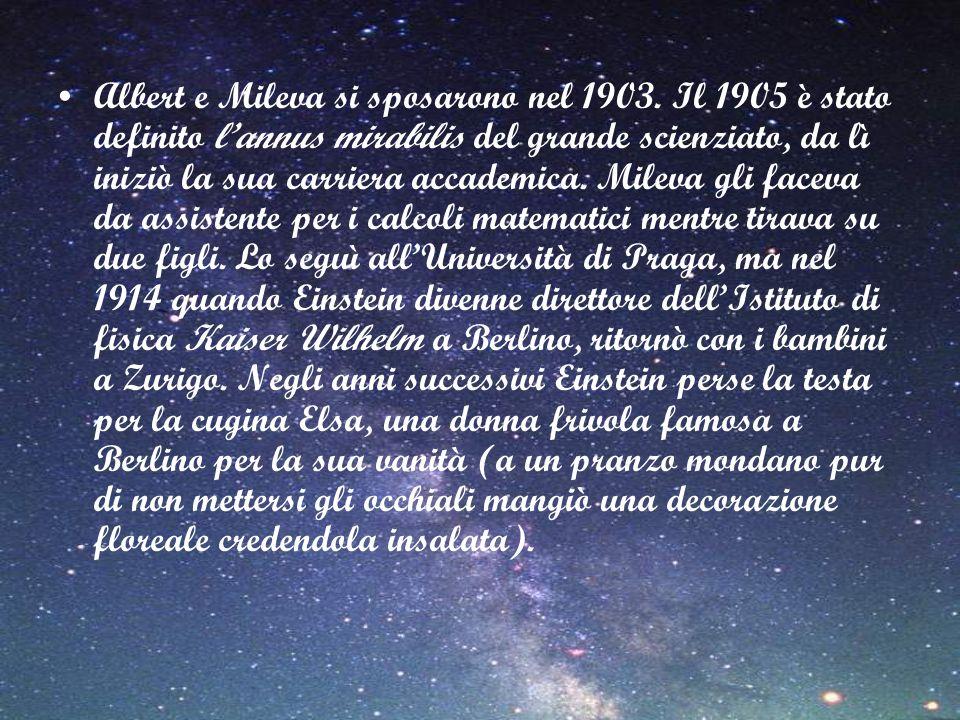 Albert e Mileva si sposarono nel 1903. Il 1905 è stato definito lannus mirabilis del grande scienziato, da lì iniziò la sua carriera accademica. Milev