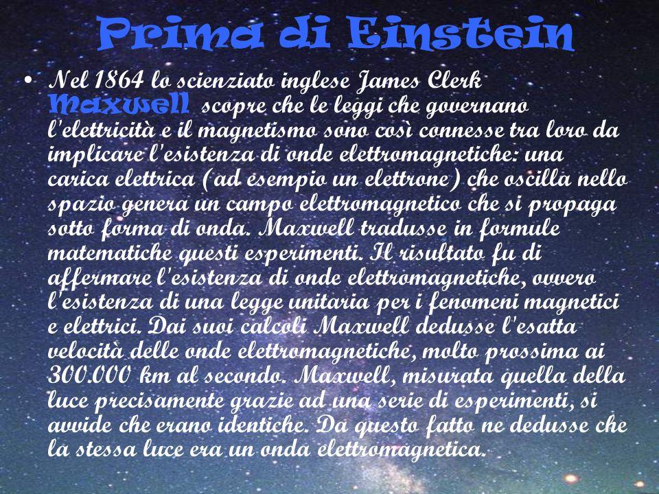 Prima di Einstein Nel 1864 lo scienziato inglese James Clerk Maxwell scopre che le leggi che governano l'elettricità e il magnetismo sono così conness