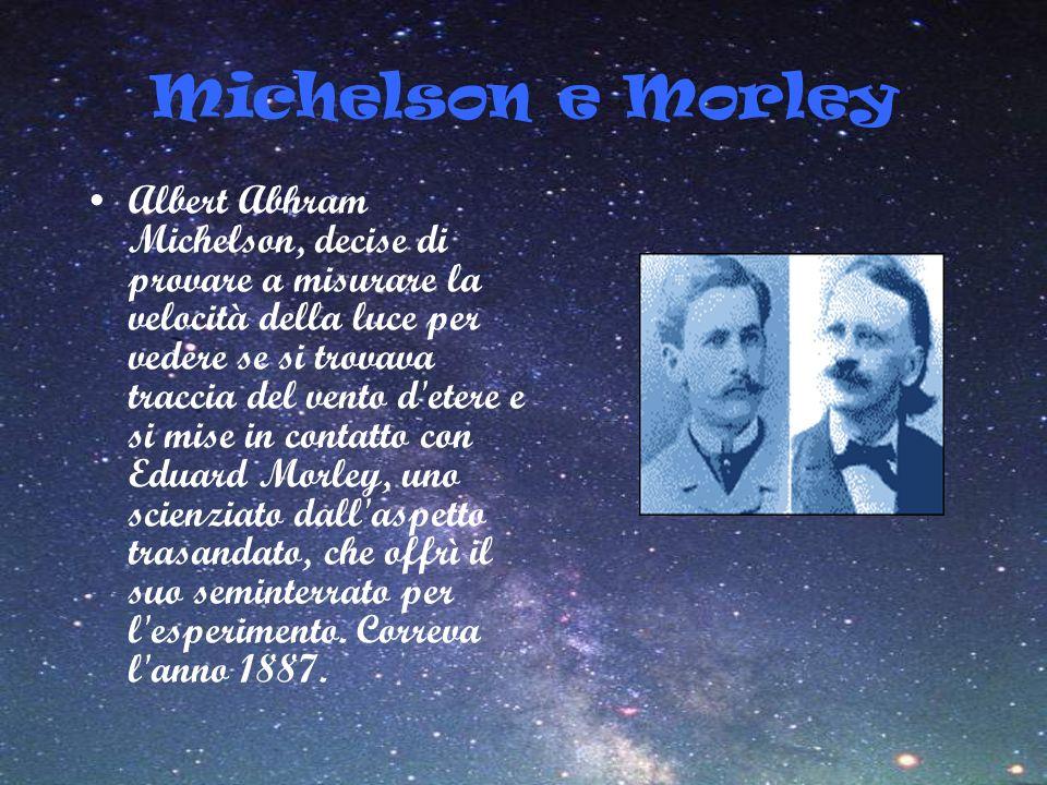 Michelson e Morley Albert Abhram Michelson, decise di provare a misurare la velocità della luce per vedere se si trovava traccia del vento d'etere e s
