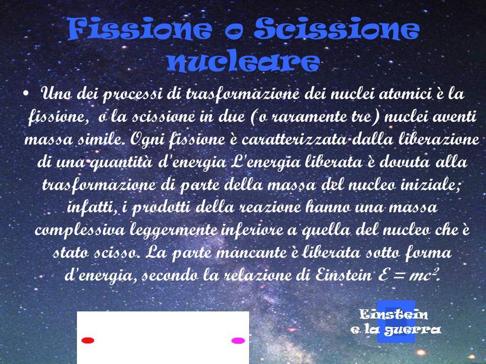 Fissione o Scissione nucleare Uno dei processi di trasformazione dei nuclei atomici è la fissione, o la scissione in due (o raramente tre) nuclei aven