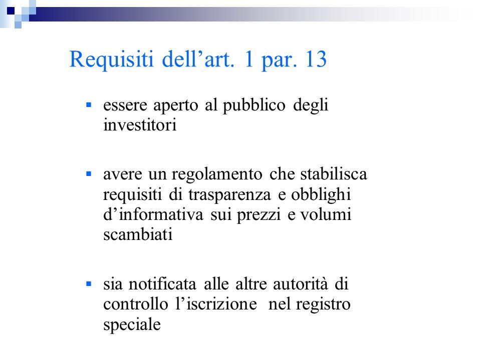 Requisiti dellart. 1 par. 13 essere aperto al pubblico degli investitori avere un regolamento che stabilisca requisiti di trasparenza e obblighi dinfo