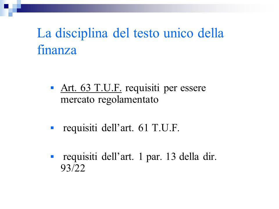 La disciplina del testo unico della finanza Art. 63 T.U.F. requisiti per essere mercato regolamentato requisiti dellart. 61 T.U.F. requisiti dellart.