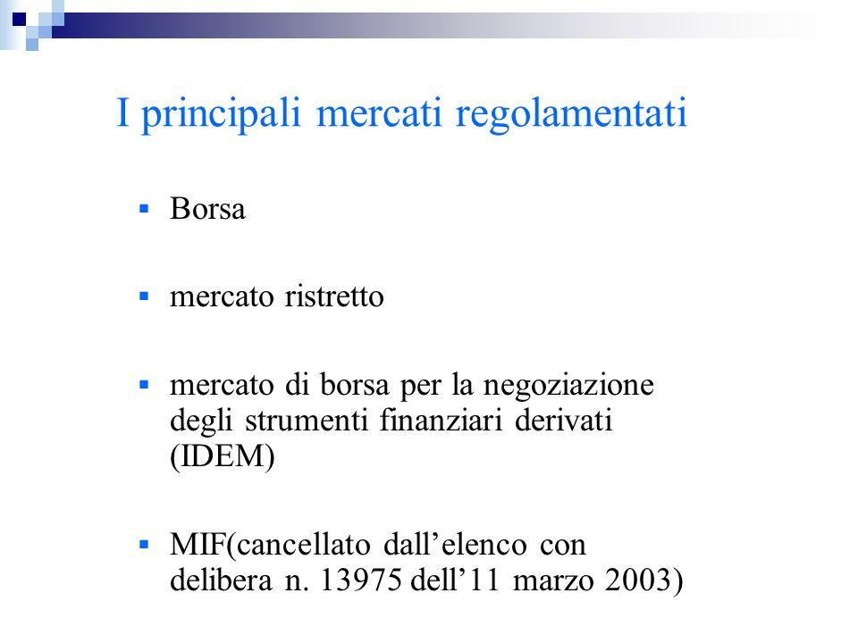I principali mercati regolamentati Borsa mercato ristretto mercato di borsa per la negoziazione degli strumenti finanziari derivati (IDEM) MIF(cancell