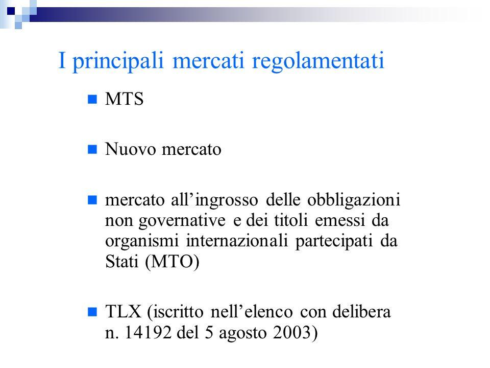 I principali mercati regolamentati MTS Nuovo mercato mercato allingrosso delle obbligazioni non governative e dei titoli emessi da organismi internazi