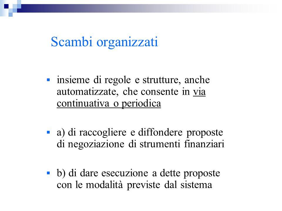 Scambi organizzati insieme di regole e strutture, anche automatizzate, che consente in via continuativa o periodica a) di raccogliere e diffondere pro