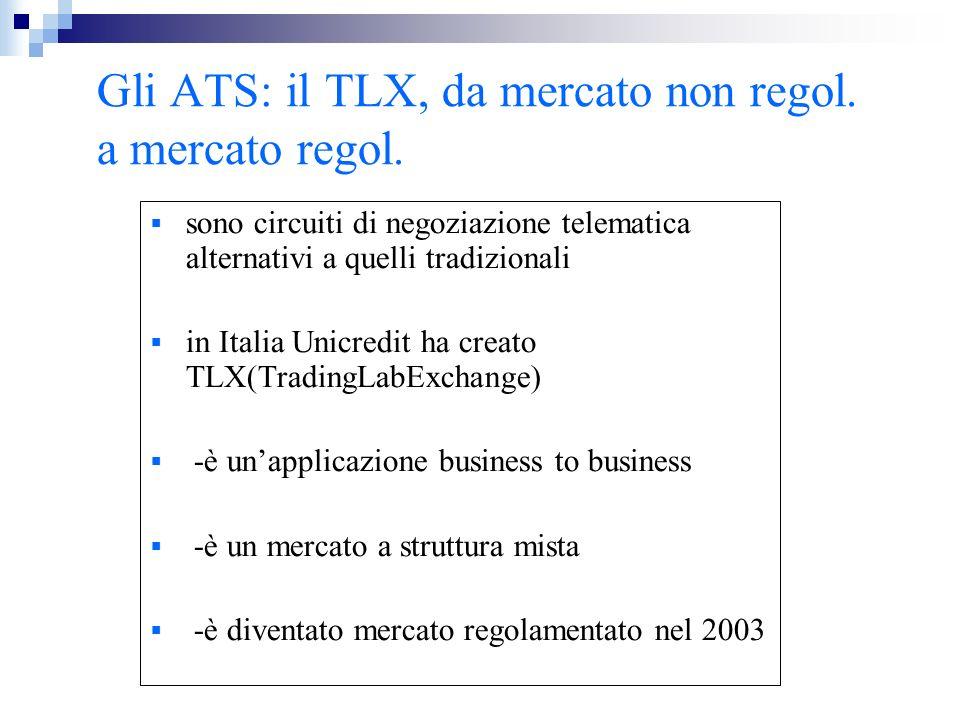 Gli ATS: il TLX, da mercato non regol. a mercato regol. sono circuiti di negoziazione telematica alternativi a quelli tradizionali in Italia Unicredit