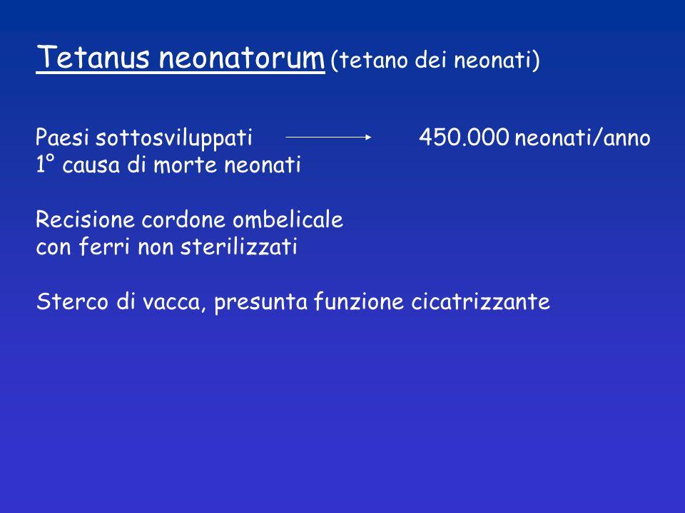 Tetanus neonatorum (tetano dei neonati) Paesi sottosviluppati 450.000 neonati/anno 1° causa di morte neonati Recisione cordone ombelicale con ferri no