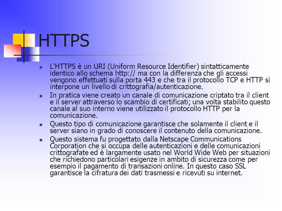 HTTPS L'HTTPS è un URI (Uniform Resource Identifier) sintatticamente identico allo schema http:// ma con la differenza che gli accessi vengono effettu