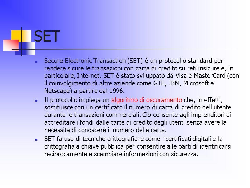SET Secure Electronic Transaction (SET) è un protocollo standard per rendere sicure le transazioni con carta di credito su reti insicure e, in partico