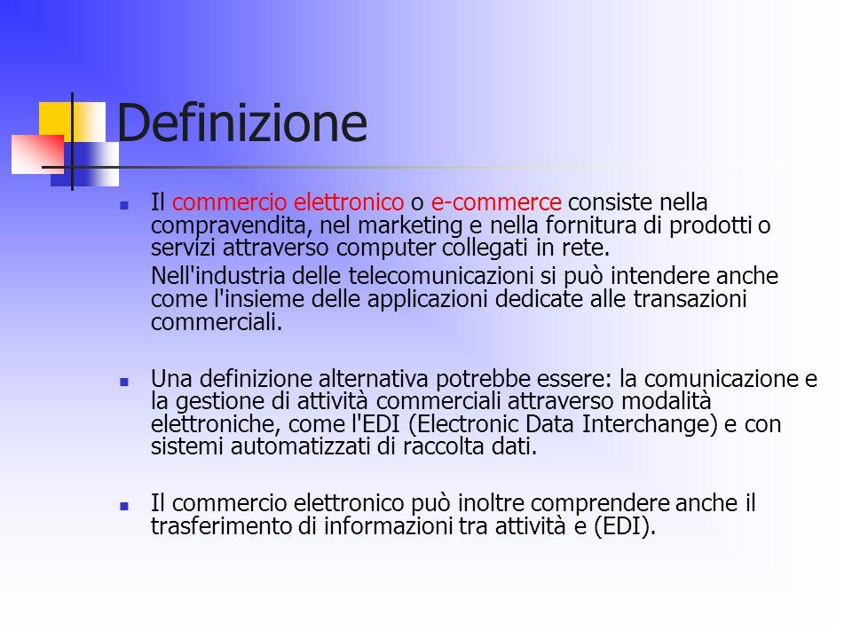 Definizione Il commercio elettronico o e-commerce consiste nella compravendita, nel marketing e nella fornitura di prodotti o servizi attraverso compu
