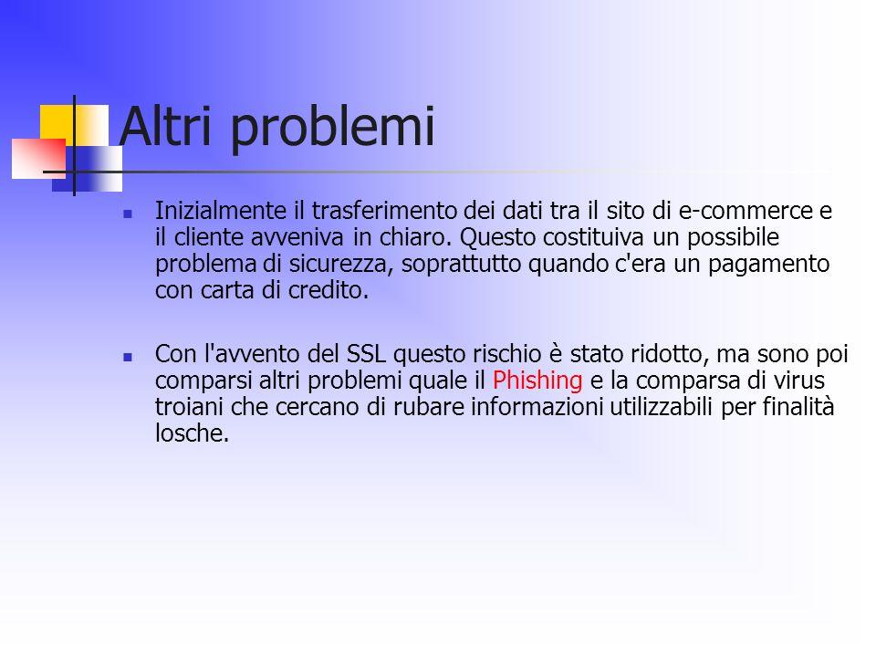 Altri problemi Inizialmente il trasferimento dei dati tra il sito di e-commerce e il cliente avveniva in chiaro. Questo costituiva un possibile proble