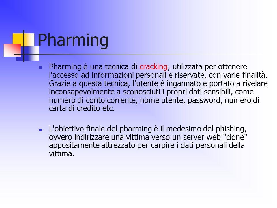 Pharming Pharming è una tecnica di cracking, utilizzata per ottenere l'accesso ad informazioni personali e riservate, con varie finalità. Grazie a que