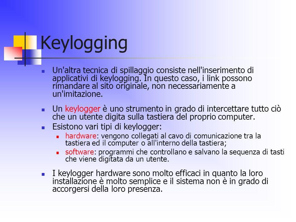 Keylogging Un'altra tecnica di spillaggio consiste nell'inserimento di applicativi di keylogging. In questo caso, i link possono rimandare al sito ori