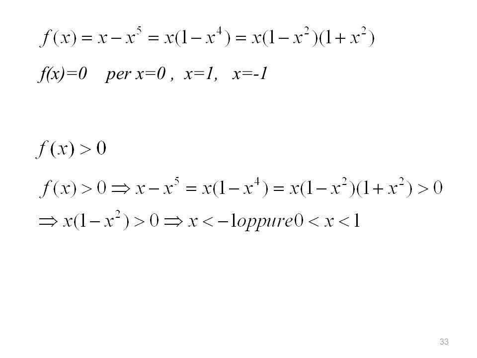 33 f(x)=0 per x=0, x=1, x=-1
