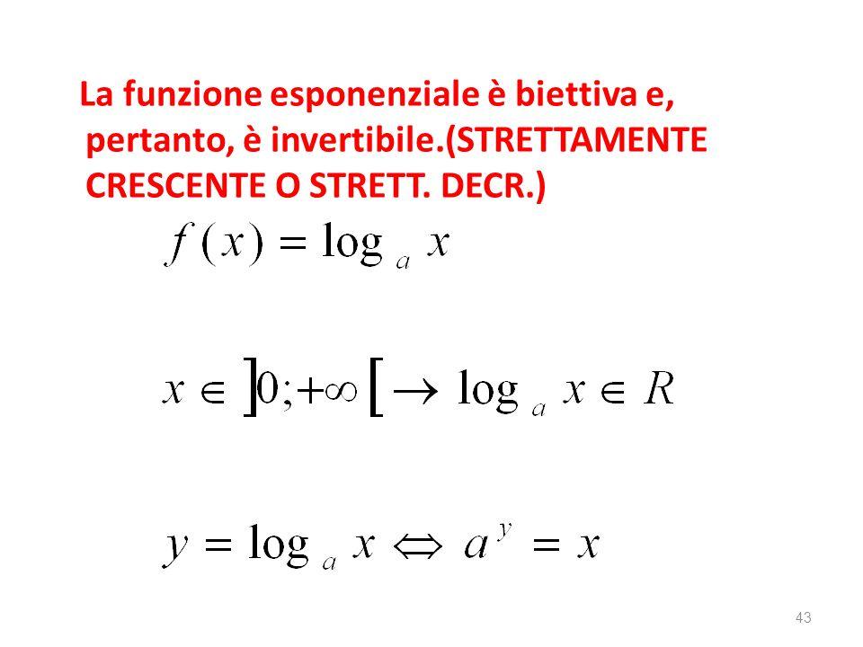 La funzione esponenziale è biettiva e, pertanto, è invertibile.(STRETTAMENTE CRESCENTE O STRETT. DECR.) 43