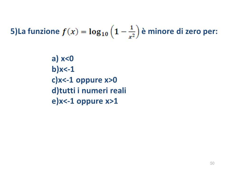 a) x<0 b)x<-1 c)x 0 d)tutti i numeri reali e)x 1 5)La funzioneè minore di zero per: 50