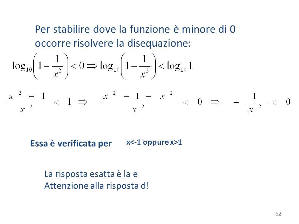 Per stabilire dove la funzione è minore di 0 occorre risolvere la disequazione: Essa è verificata per x 1 La risposta esatta è la e Attenzione alla ri