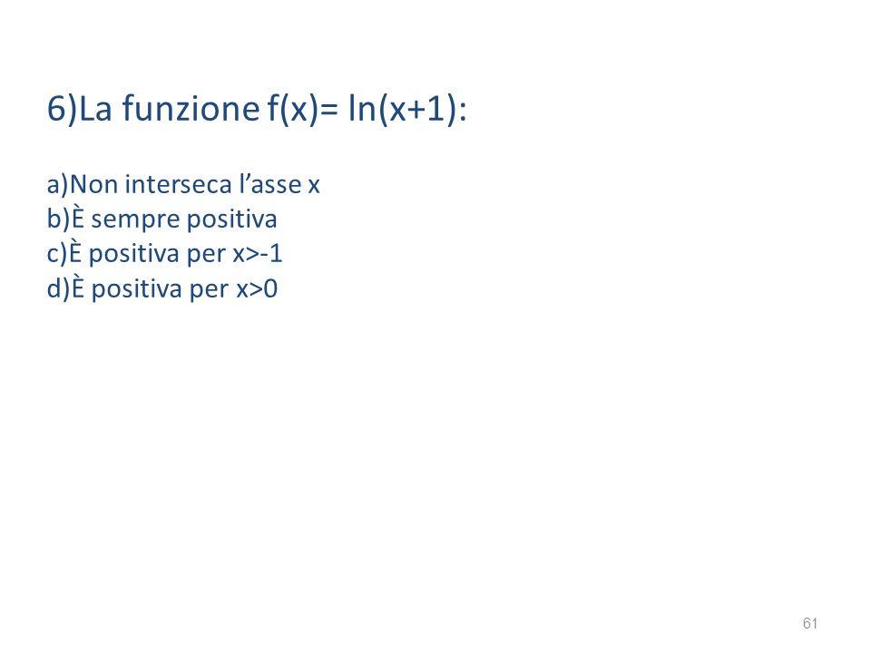 6)La funzione f(x)= ln(x+1): a)Non interseca lasse x b)È sempre positiva c)È positiva per x>-1 d)È positiva per x>0 61