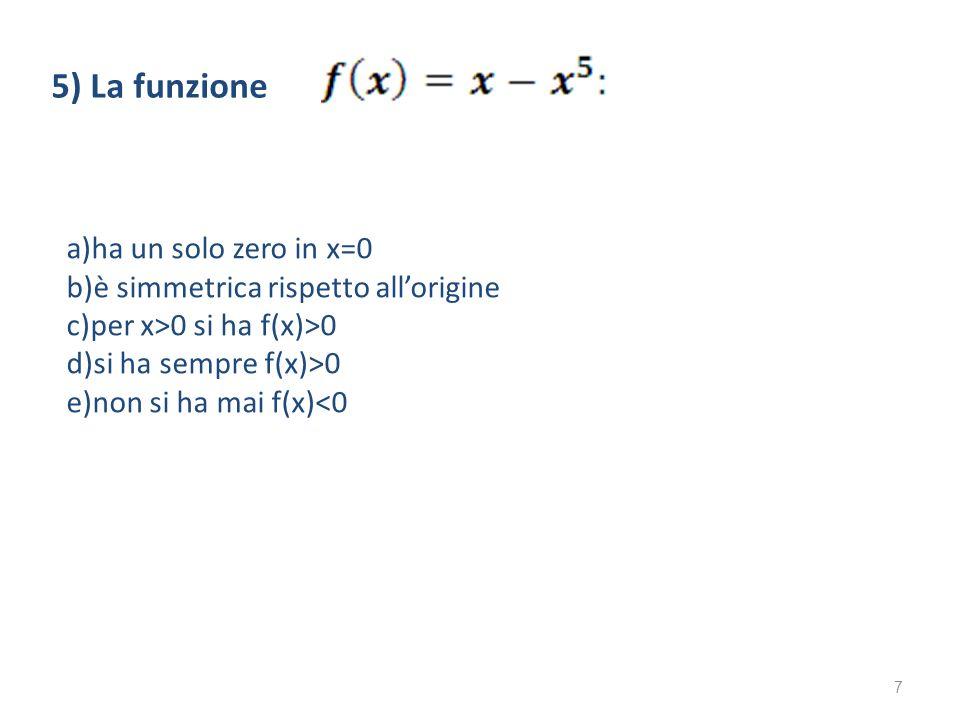 a)ha un solo zero in x=0 b)è simmetrica rispetto allorigine c)per x>0 si ha f(x)>0 d)si ha sempre f(x)>0 e)non si ha mai f(x)<0 5) La funzione 7