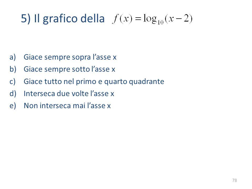 5) Il grafico della a)Giace sempre sopra lasse x b)Giace sempre sotto lasse x c)Giace tutto nel primo e quarto quadrante d)Interseca due volte lasse x