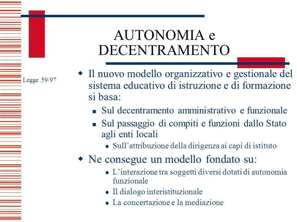 AUTONOMIA e DECENTRAMENTO Il nuovo modello organizzativo e gestionale del sistema educativo di istruzione e di formazione si basa: Sul decentramento a